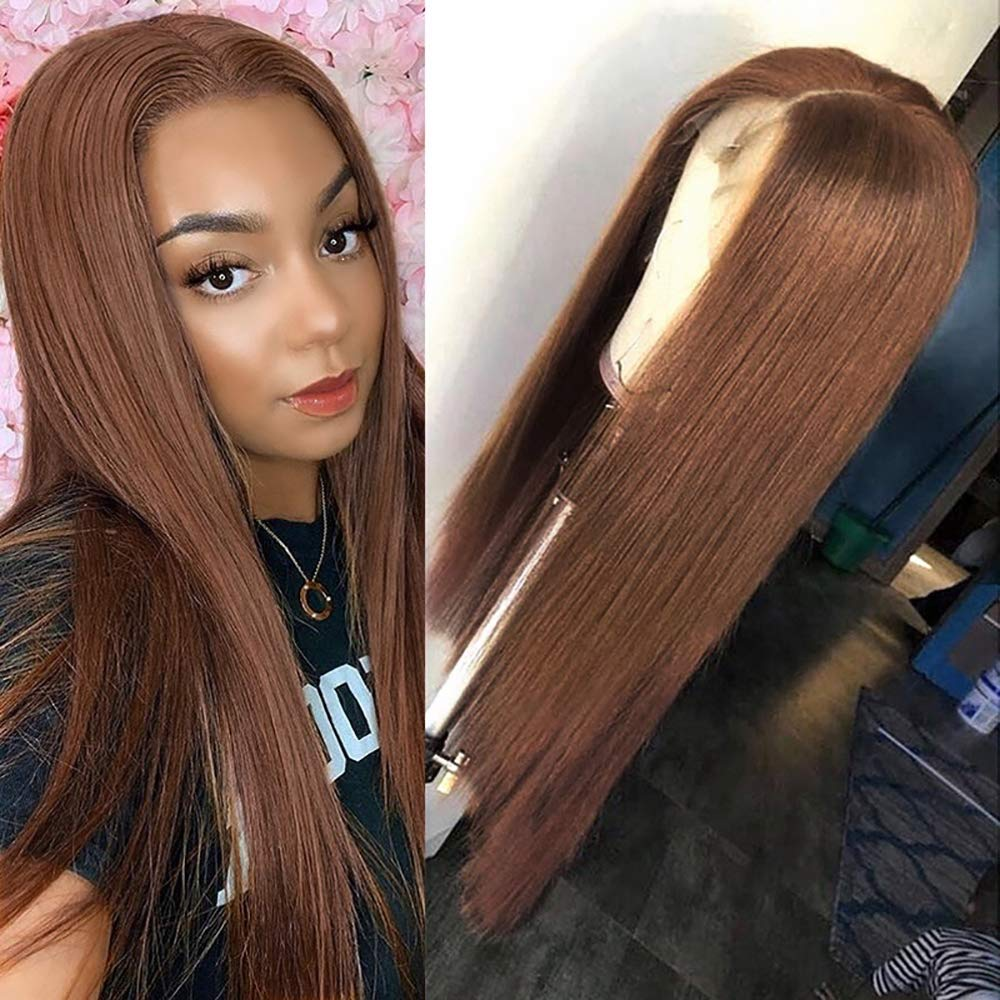 Brown Human Challenge the lowest price of Japan Courier shipping free shipping Hair 13X4 Lace Front Wig Virgi Brazilian Middle Part