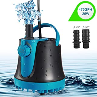 IDREAMO Submersible Water Pump, 475GPH (1800L/H, 25W) Adjustable Ultra Quiet Water Pump for Aquarium, Fish Tank, Pond, Statuary, Hydroponics with 2 Nozzles,5 Feet Power Cord