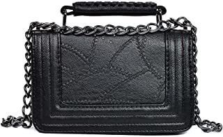 Festnight Vintage Women Crossbody Bag Handbags Chain Strap Lock Buckle Small Flag PU Leather Shoulder Bags
