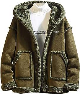 Sunward Coat for Men,Men's Autumn Solid Color Fleece Casual Stylish Cardigan Blouse Tops Coat