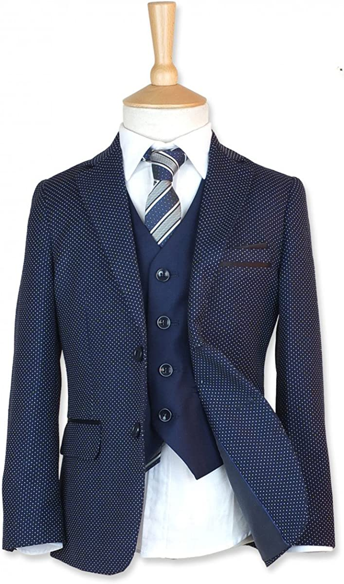 Boys Italian Slim Fit 3PC Polka Dot Navy Blue Pageboy, Wedding, Dinner, Communion Suits