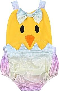 LUCSUN Neugeborenes Baby Mädchen Ostern Outfit Cute Cartoon Küken Strampler ärmellos Bodysuit Jumpsuit Sommerkleidung