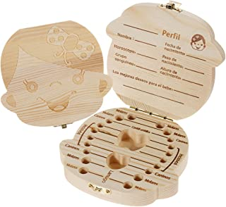Ularma Caja de almacenaje de madera guardar los dientes de leche para ni/ños chica Espa/ñol