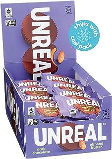 UNREAL Dark Chocolate Almond Butter Cups   Vegan, Gluten Free, Less Sugar   40 Cups
