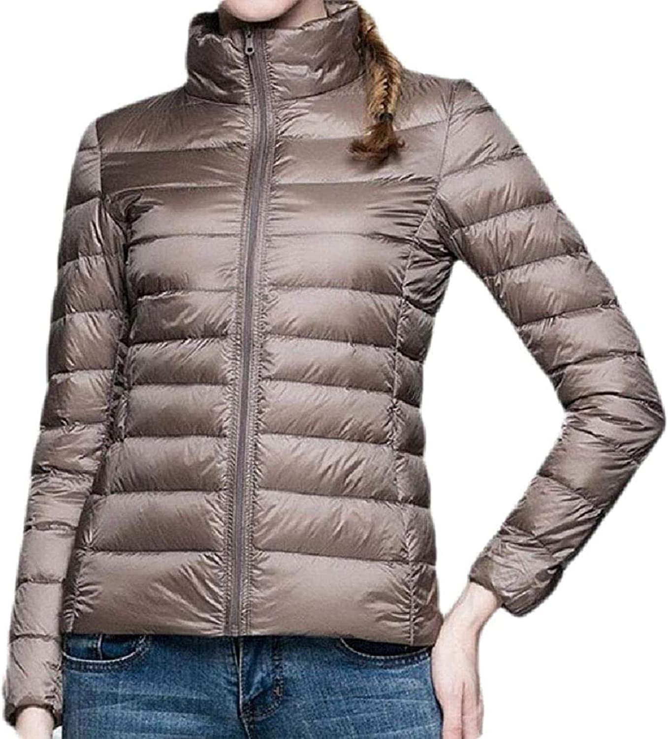 Womens Long-Sleeve Padded Quilted Casual Jacket Solid Slim Zipper Down Jacket