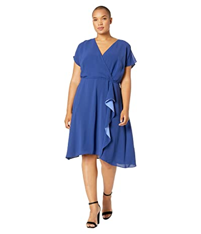 Adrianna Papell Plus Size Gauzy Crepe A-Line Dress with Drape (Indigo) Women