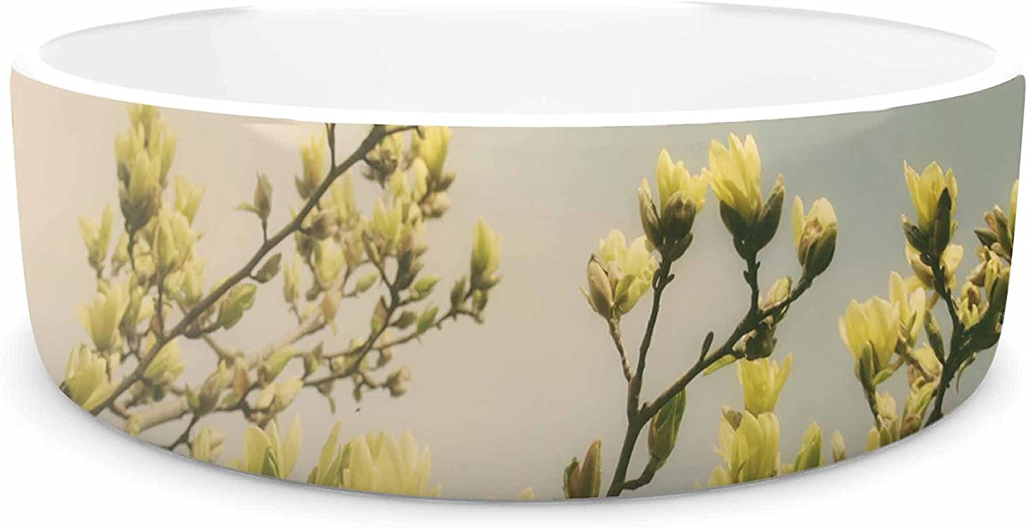 KESS InHouse Angie Turner Yellow Magnolias  bluee Photography Pet Bowl, 7