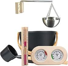 Kit De Sauna En Bois 7L, Ensemble D'accessoires De Sauna Avec Seau De Sauna En Bois, Hygromètre De Thermomètre De Sauna, M...