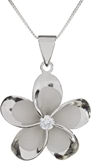 Sterling Silver 15mm Plumeria Rhodium Plated Pendant Necklace