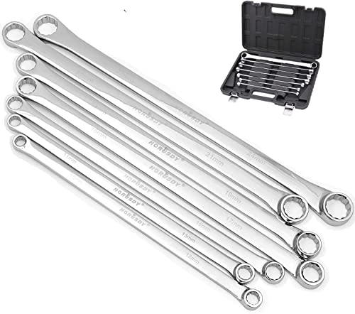 discount HORUSDY 7-Piece online Extra Long Double Box End sale Wrench Set, CR-V, Less Effort Aviation Wrench Metric 10mm - 24mm online sale