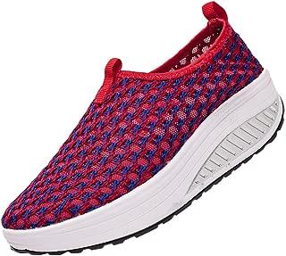 KUIBU Women Lightweight Sport Breathable Slip-On Platform Shoes Canvas High Heel Sneaker Athletic Redblue