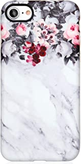VIVIBIN iPhone 7 Case,iPhone 8 Case for Women,Cute Grey Marble Flowers for Girls Clear Bumper Soft Silicone Rubber TPU Cover Slim Fit Protective Phone Case for iPhone 7 iPhone 8 4.7 inch