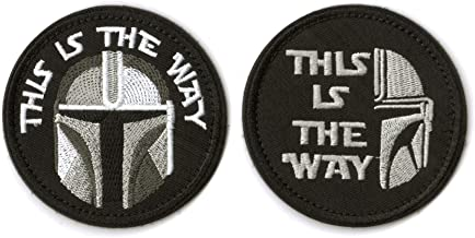 WZT 2 Pieces This is The Way Full Helmet Inspired Art Patch Funny Tactical Military Morale Patch Full Embroidery Patch,Bag...