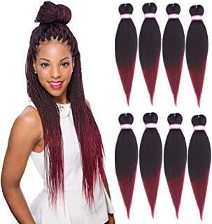 Pre Stretched Braiding Hair 20 Inch 8 Packs Yaki Synthetic Ombre Color Professional Braiding Hair Extensions for Crochet Braids Twist Hair (#1B/Burgundy)