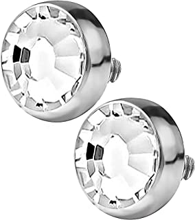 14G Surgical Steel Flat CZ Dermal Tops and 2-Hole/4-Hole Grade 23 Titanium Bases