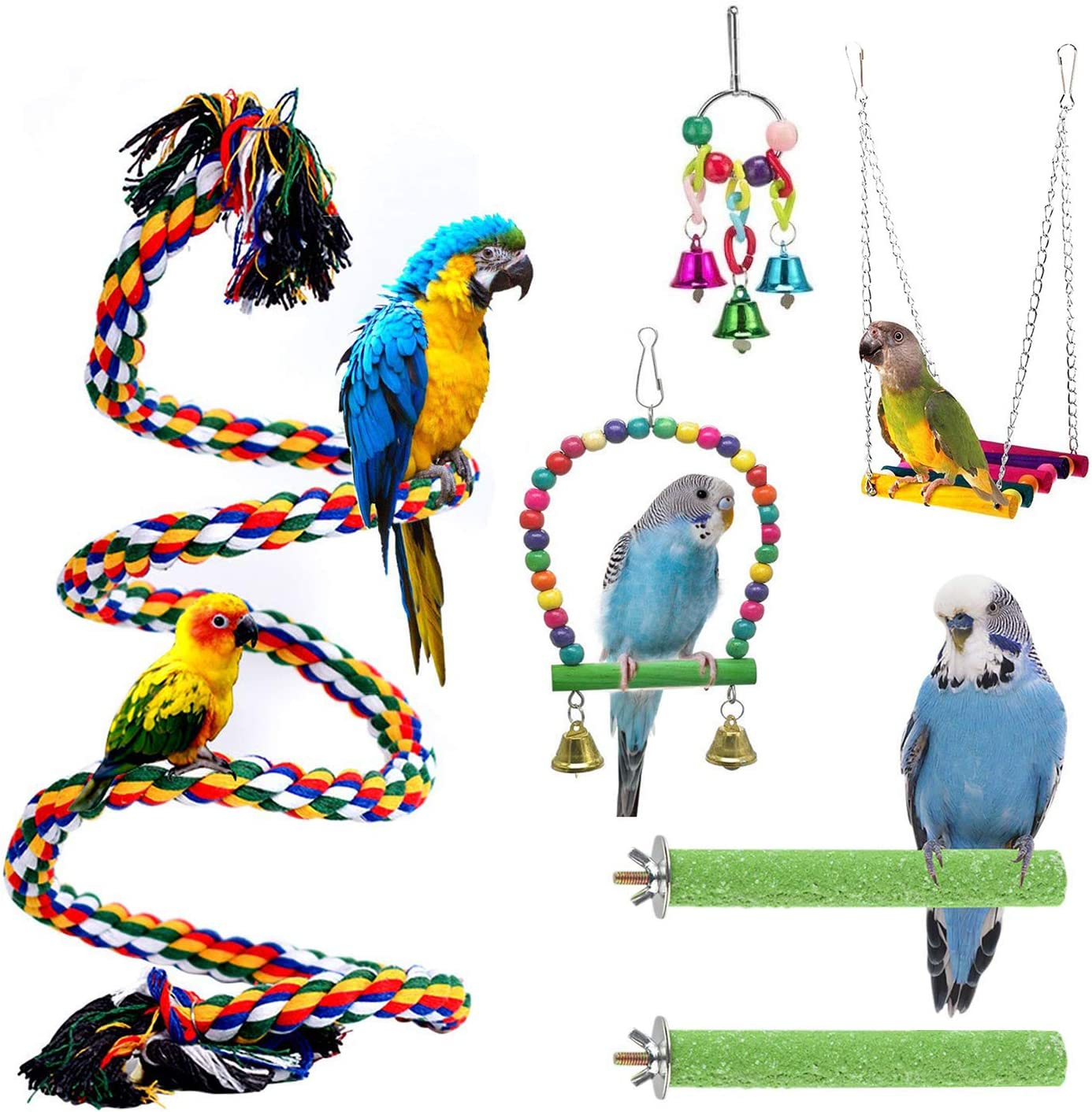 WUZJ 6PCS Bird Toys and Very popular Perches Ha Selling rankings Rope Perch Cage Set
