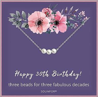 هدايا عيد الميلاد الثلاثين للنساء - قلادة من الفضة الاسترليني ثلاثة لآلئ لها 3 عقود - فكرة هدية المجوهرات القديمة 30 عامًا