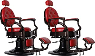 BarberPub Vintage Barber Chair Heavy Duty Barber Chairs Hydraulic Reclining Salon Equipment 3849, (Red-2 sets)