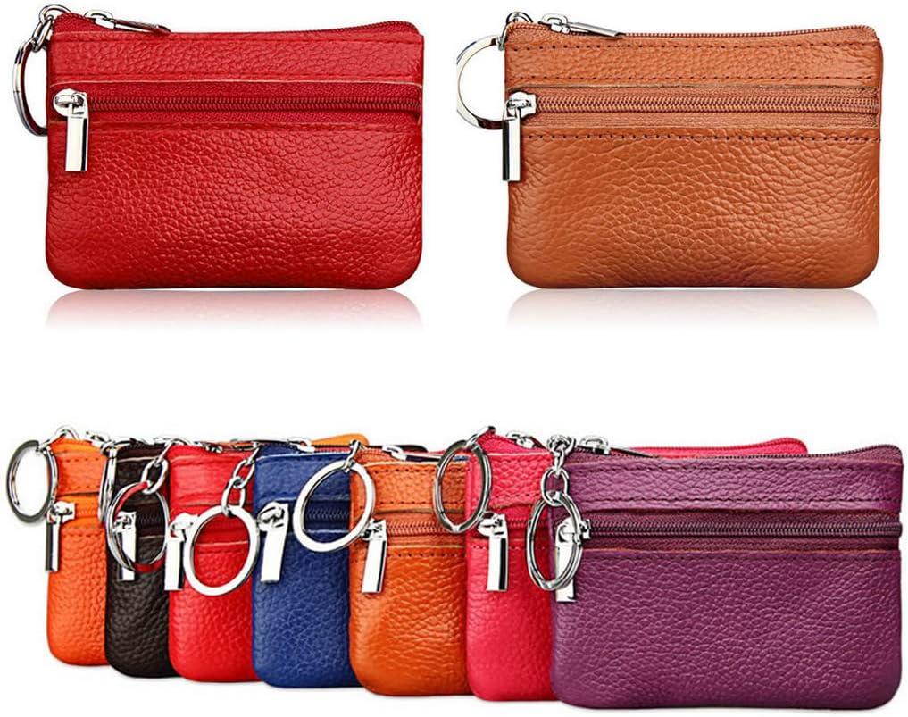 W-ZIYUI Mini Fashion Wallet Soft Men Women Card Coin Key Holder Zip Genuine Leather Wallet Pouch Bag Purse