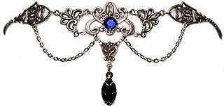 Art Nouveau Filigree Headpiece w/ Dark Sapphire Blue Stones