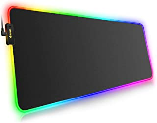RGB Gaming Mouse Pad Mat Large Thick(800×300×4mm) Hcman XXL Extended Led Mousepad with Non-Slip Rubber Base, Soft Computer Keyboard Mice Mat for MacBook, PC, Laptop, Desk - Black