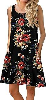 Women Summer Floral Print Casual T Shirt Dresses Beach Cover Up Plain Pleated Tank Dress