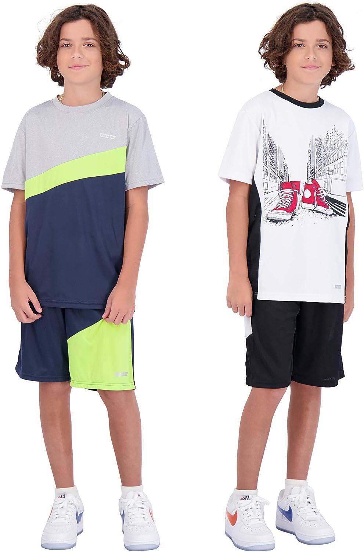 Hind 4-Piece Boys Basketball Shorts and Performance Athletic Shirt Set