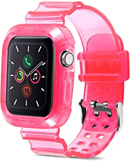 Insten Crystal Clear Watch Band with Rugged Bumper Case Compatible with Apple Watch 44mm 42mm Series SE 6 5 4 3 2 1, Repla...