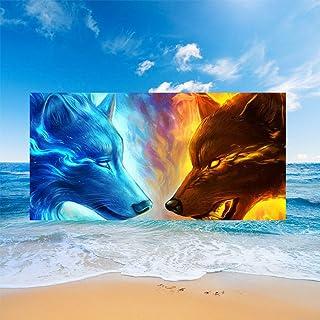 Sticker Superb Toalla de Playa Microfibra Rectángulo 3D Animal Luna Fuego Lobo Ballena Manta Impresa Yoga Gimnasio Al Aire...