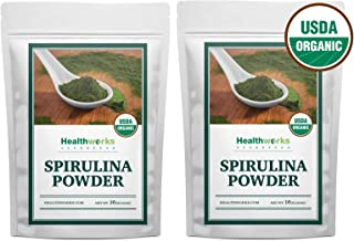 Healthworks Spirulina Powder Organic Raw (32 Ounces / 2 Pound) (2 x 1 Pound Bags)   All-Natural & Non-Irradiated Algae   Great with Smoothies, Shakes & Oatmeal   Antioxidant Superfood