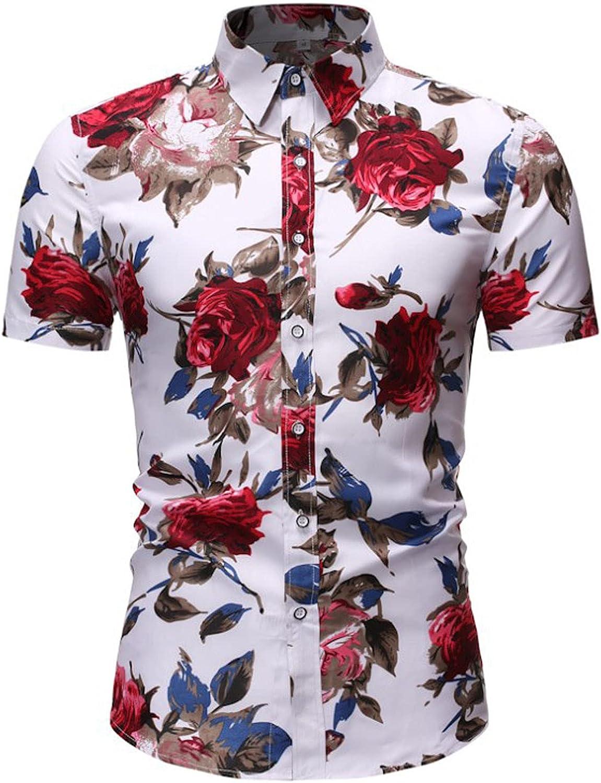 Men's Casual Beach Hawaiian Tropical Flower Print Button Down Short Sleeve Shirt