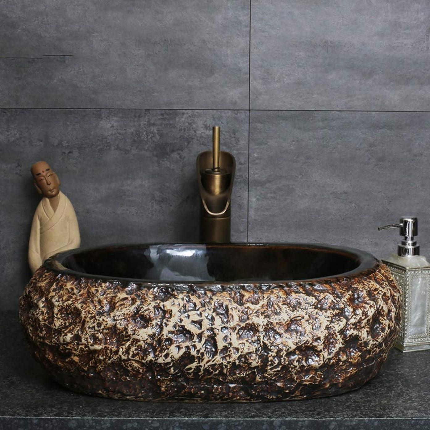 複雑でないまともな財政洗面台シンクバスルームシンク家庭用セラミックシングル洗面台ホテルカウンター洗面台 (Color : A. Sink*1, Size : 52*15*41cm)