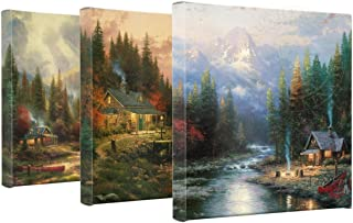 Thomas Kinkade End Of A Perfect Day Set of 3 Wrapped Canvases 14 x 14 Gallery Wrapped Canvas