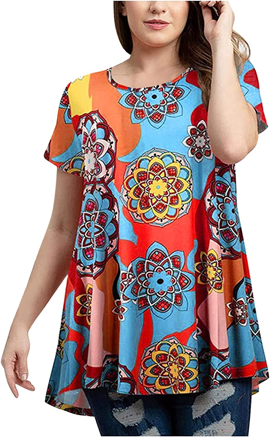 Floral Shirt for Women Crew Neck Print Casual Short Sleeve Pullo