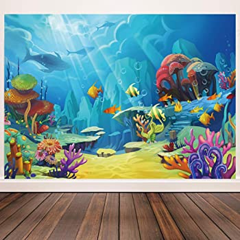 HD 5x7ft Cartoon Underwater World Background Aquarium Background Interior Decoration Banner Photo Video Studio Props DSME072