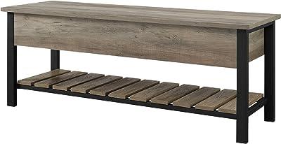 Walker Edison Julian Rustic Farmhouse Lift Top Entry Bench with Bottom Rack, 48 Inch - Grey