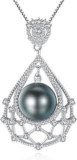 Gemshadow donne 925sterling Silver 10–11mm coltivata di Tahiti collana di perle nere