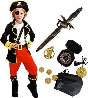 Tacobear Disfraz Pirata Niño con Pirata Accesorios Pirata Sombrero Parche Daga brújula Monedero Pendiente Oro Medasie Pirata Disfraz de Halloween Niños (XL 10-12 años)