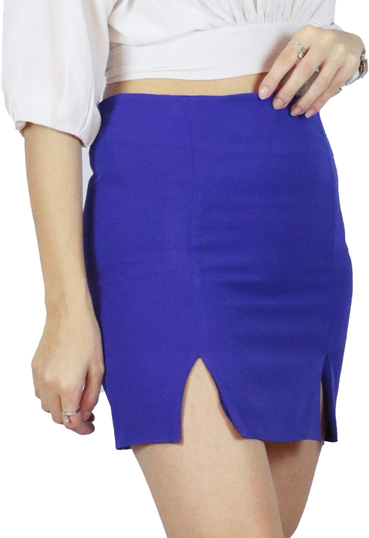 Double Slit Mini Skirt with Zipper   Pocketless Straight Short Skirt   Handmade   Purple
