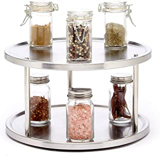 Sagler 2 Tier lazy susan turntable 360-degree lazy susan organizer use for a spice..