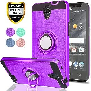 ZTE ZFIVE 2 / Prestige / Prestige 2 / Avid Plus/ Maven 2/ Sonata 3/ Avid Trio Phone Case,Ymhxcy 360 Degree Rotating Ring & Bracket Dual Layer Resistant Back Cover for ZTE N9136-ZH Purple