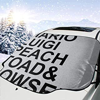 ENXIANGXIJ Su-per Ma-Rio Character List Car Windshield Snow Cover, Ice Removal Sun Shade, Fit for Universal Cars (58'' X47'')