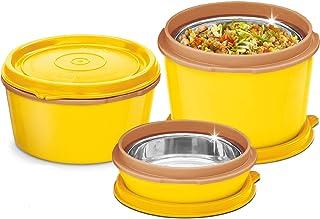 MILTON Bento Lunch Box Set - 3 magnetron roestvrij staal maaltijd prep containers, voedsel opbergdozen w/lekbestendige dek...