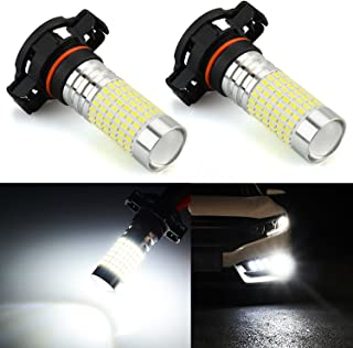 JDM ASTAR 1200 Lumens Extremely Bright 144-EX Chipsets PSX24W 2504 LED Fog Light Bulbs with Projector for DRL or Fog Lights, Xenon White