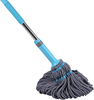 QIPENG Microfiber Twist Mop Stainless Steel Retractable Handle Grey for House Floors with Removable Washable Head Replacement