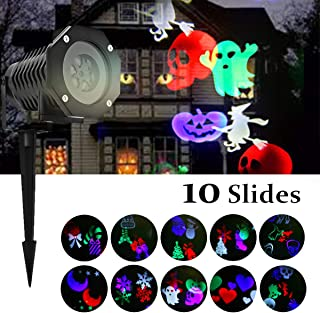 Outdoor Projection Light - High Waterproof Auto Rotating Spotlight with 10 Rotating Multicolor Slides - Lighting GOBO Lawn Lights Garden Path Party for Birthday, Wedding, Halloween Decor