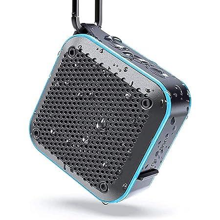 KIYEDAM BT525 Bluetoothスピーカー完全ワイヤレス ミニ 小型miniコンパクポータブルスピーカー、IPX7防水規格、FMラジオ機能、強化された低音大音量、TWS対応 車載、12時間連続再生、風呂用、アウトドア、内蔵マイク、AUXケープルポート、USB充電、TFカード、カラビナ (青)
