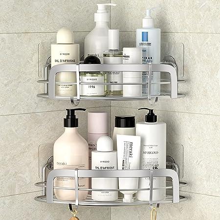 STEUGO Lot De 2 Adhésif Etagère de Douche d'angle, Caddy de coin de douche, Etagère de douche murale avec 4 Crochets, Organisateur de rangement de bain en Acier Inoxydable pour Toilette, Dortoir