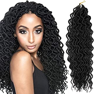 Crochet Braids Hair Curly Faux Locs Crochet Braiding Hair Body Wave Mambo Hair Extension 6piece/lot (18inch, 1B)