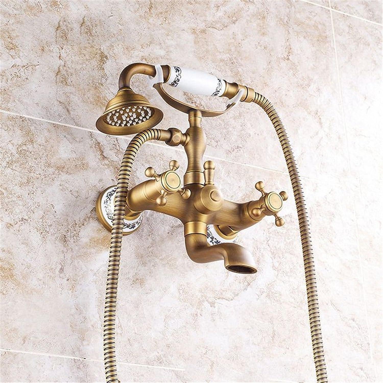 Küchenarmatur Waschtischarmatur Wasserhahn Antike einfache Dusche Wasserhahn Wand Badewanne Wasserhahn blau und wei Porzellan Sieben-Wege-Telefon heies und kaltes Wasser Mischventil Duschset